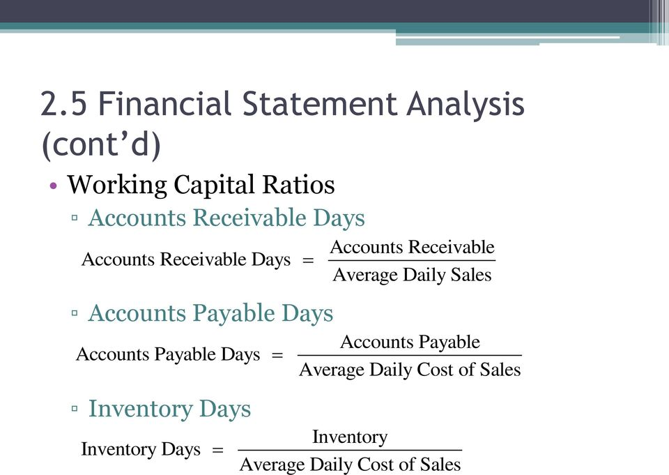 Sales Accounts Payable Days Accounts Payable Days Inventory Days Inventory