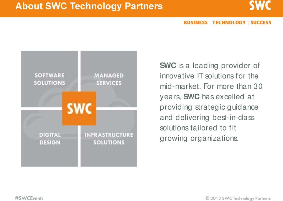 For more than 30 years, SWC has excelled at providing strategic