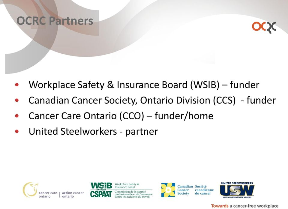 Ontario Division (CCS) - funder Cancer Care