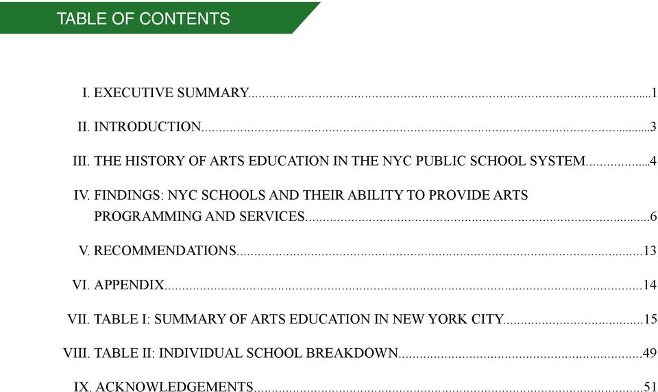 FINDINGS: NYC SCHOOLS AND THEIR ABILITY TO PROVIDE ARTS PROGRAMMING AND SERVICES...6 V.