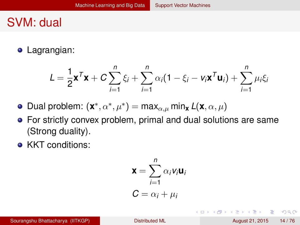 strictly convex problem, primal and dual solutions are same (Strong duality).