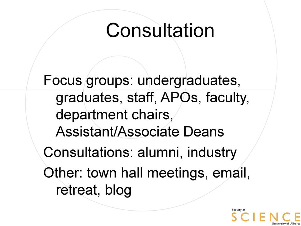 chairs, Assistant/Associate Deans Consultations:
