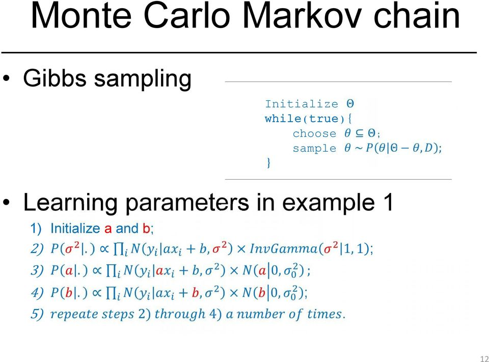 } ; Learning parameters in example 1 1)