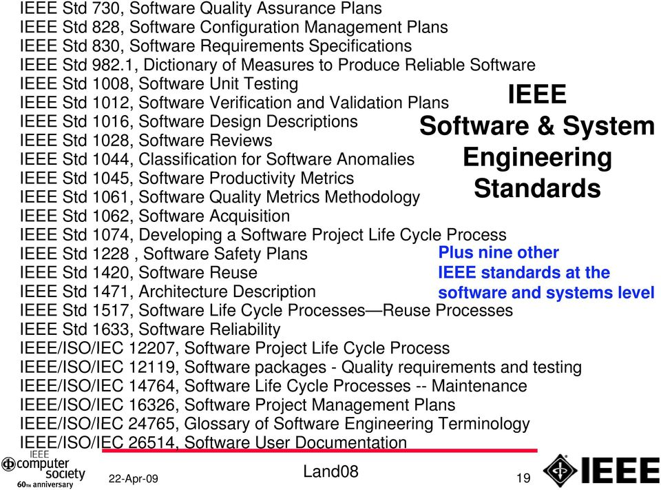 Std 1028, Software Reviews IEEE Std 1044, Classification for Software Anomalies IEEE Std 1045, Software Productivity Metrics IEEE Std 1061, Software Quality Metrics Methodology IEEE Software & System