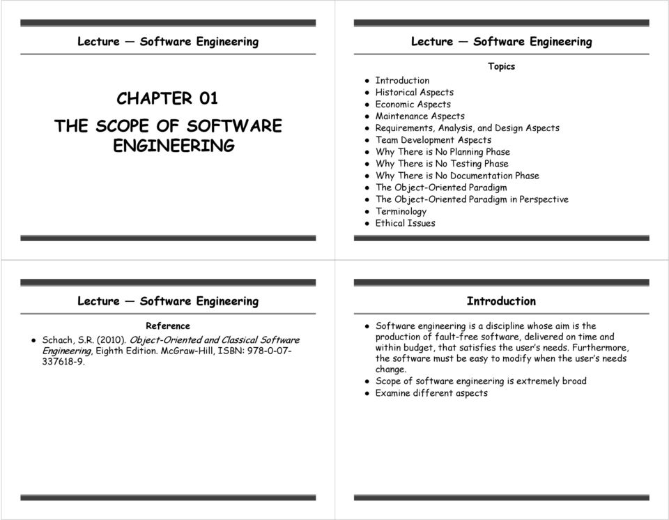 Perspective Terminology Ethical Issues Lecture Software Engineering Reference Schach, S.R. (2010). Object-Oriented and Classical Software Engineering, Eighth Edition.