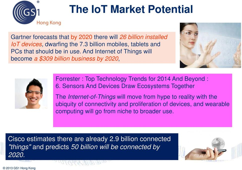 And Internet of Things will become a $309 billion business by 2020, Forrester : Top Technology Trends for 2014 And Beyond : 6.