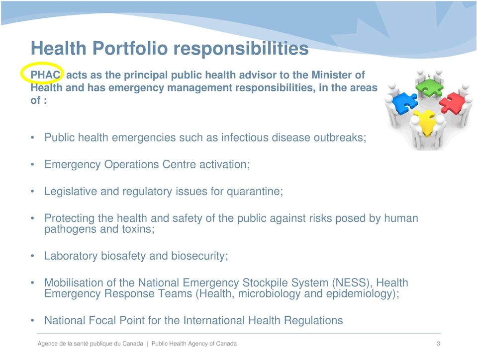 the public against risks posed by human pathogens and toxins; Laboratory biosafety and biosecurity; Mobilisation of the National Emergency Stockpile System (NESS), Health Emergency