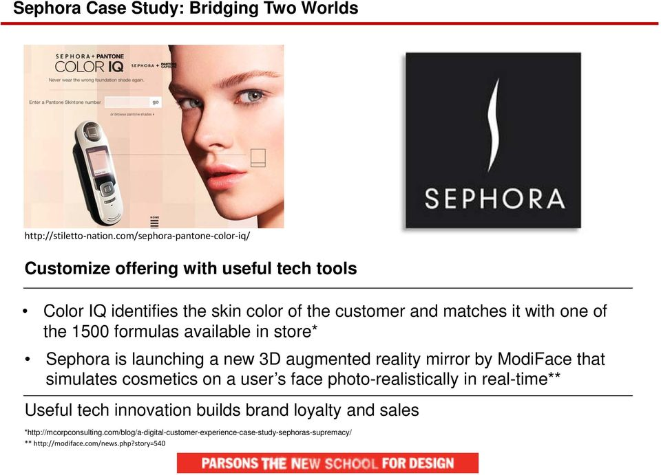 one of the 1500 formulas available in store* Sephora is launching a new 3D augmented reality mirror by ModiFace that simulates cosmetics on a