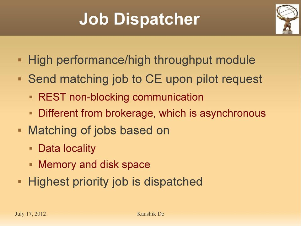 Different from brokerage, which is asynchronous Matching of jobs
