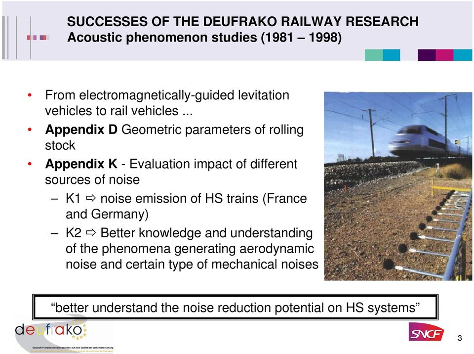 .. Appendix D Geometric parameters of rolling stock Appendix K - Evaluation impact of different sources of noise K1 noise