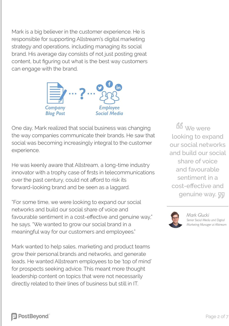 Company Blog Post Employee Social Media One day, Mark realized that social business was changing the way companies communicate their brands.