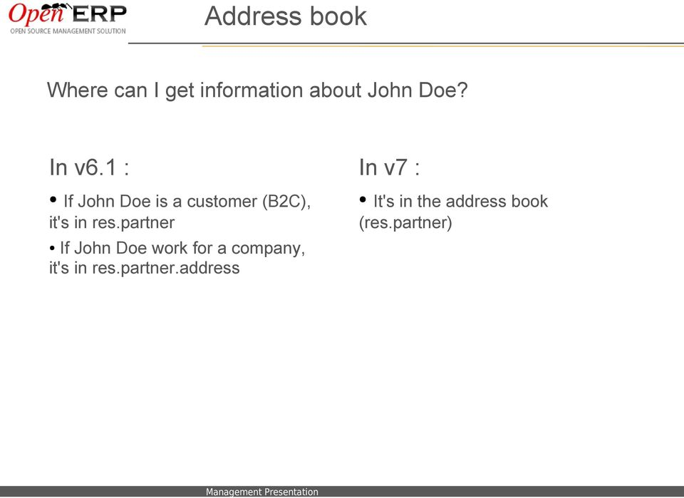 partner If John Doe work for a company, it's in res.