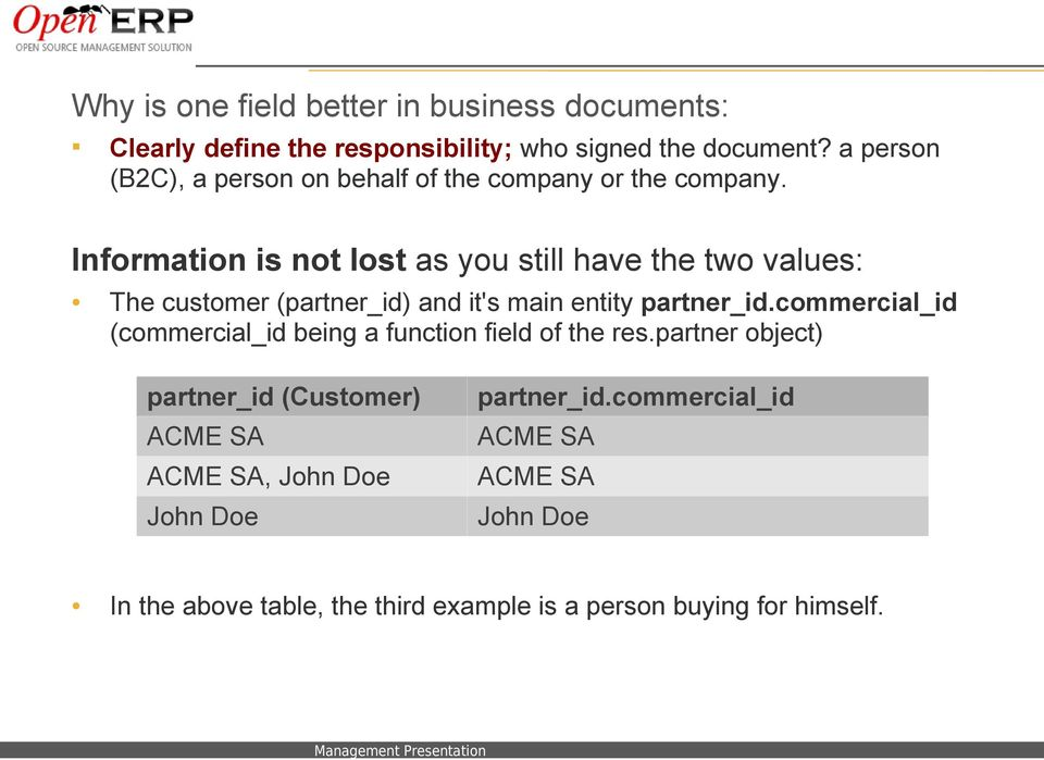 Information is not lost as you still have the two values: The customer (partner_id) and it's main entity partner_id.