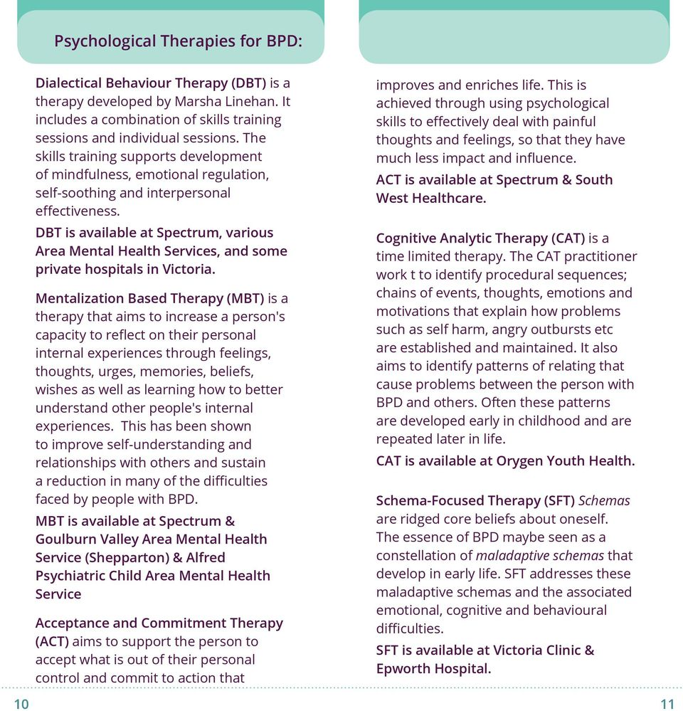 DBT is available at Spectrum, various Area Mental Health Services, and some private hospitals in Victoria.