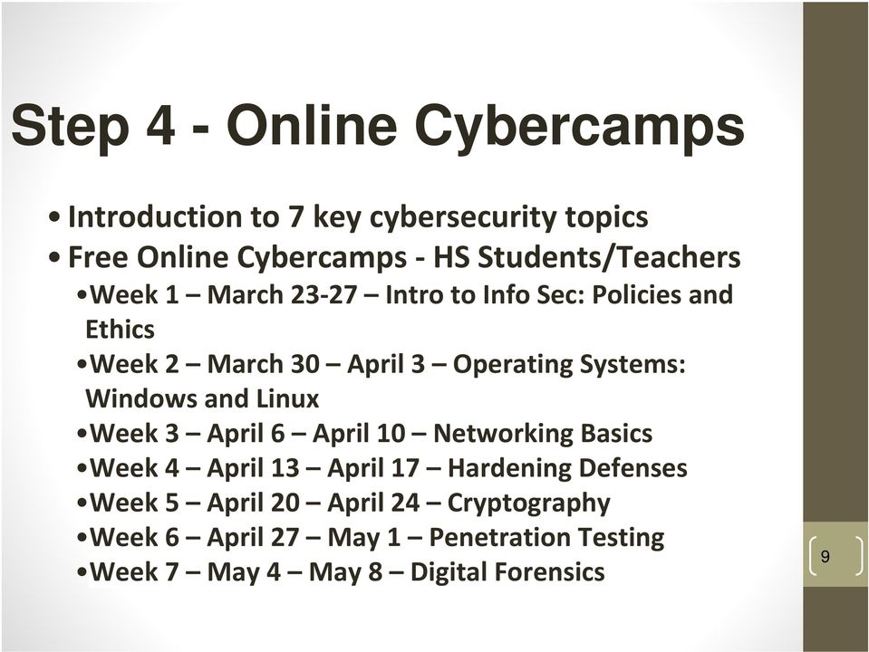 Systems: Windows and Linux Week 3 April 6 April 10 Networking Basics Week 4 April 13 April 17 Hardening