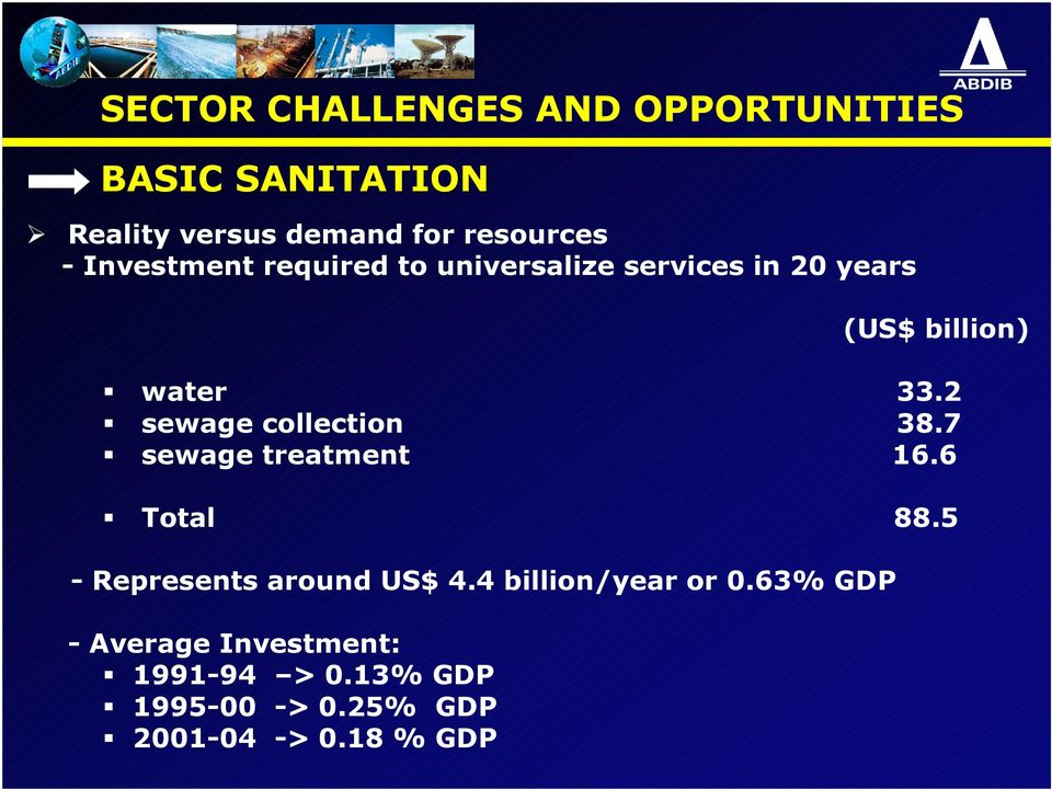 2 sewage collection 38.7 sewage treatment 16.6 Total 88.5 - Represents around US$ 4.