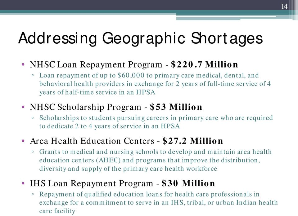 Scholarship Program - $53 Million Scholarships to students pursuing careers in primary care who are required to dedicate 2 to 4 years of service in an HPSA Area Health Education Centers - $27.