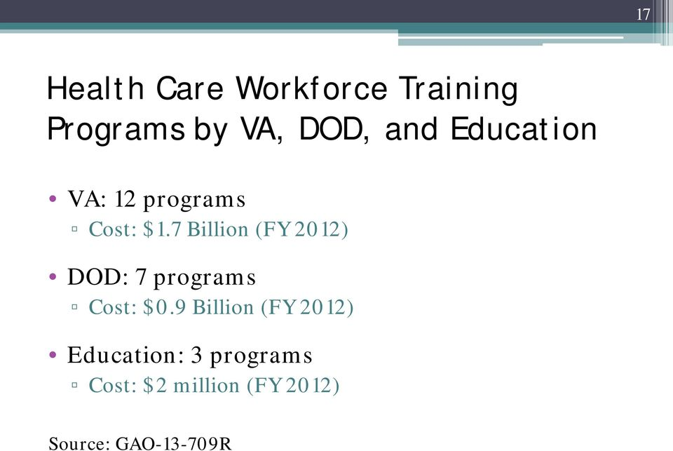 7 Billion (FY 2012) DOD: 7 programs Cost: $0.
