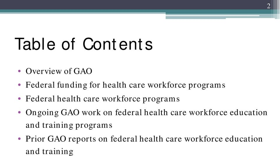 work on federal health care workforce education and training programs