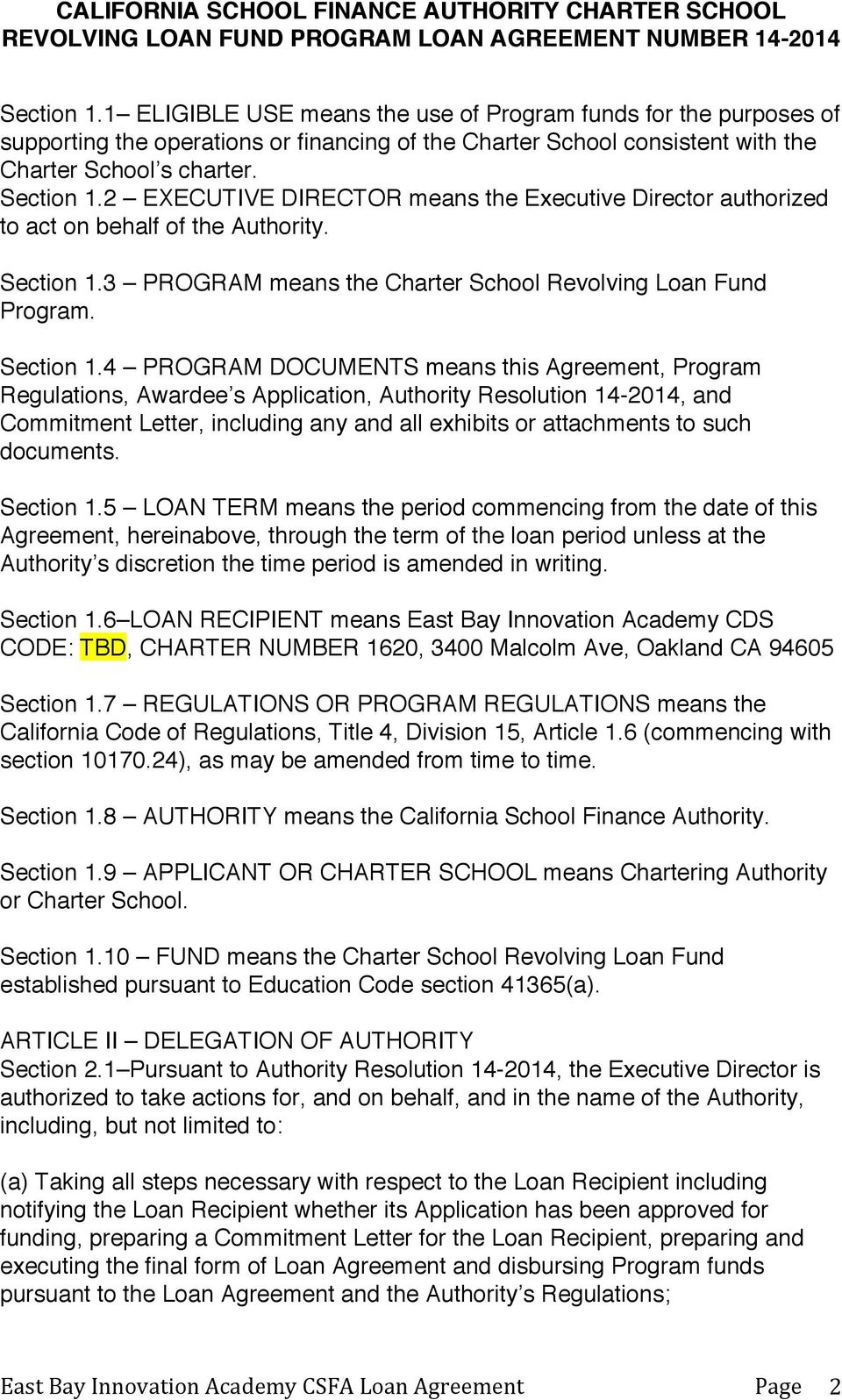 3 PROGRAM means the Charter School Revolving Loan Fund Program. Section 1.