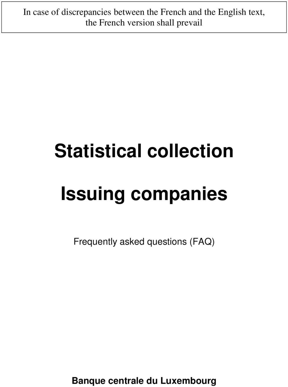 Statistical collection Issuing companies