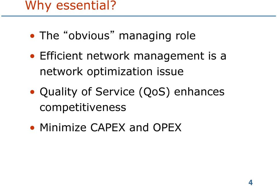 management is a network optimization issue