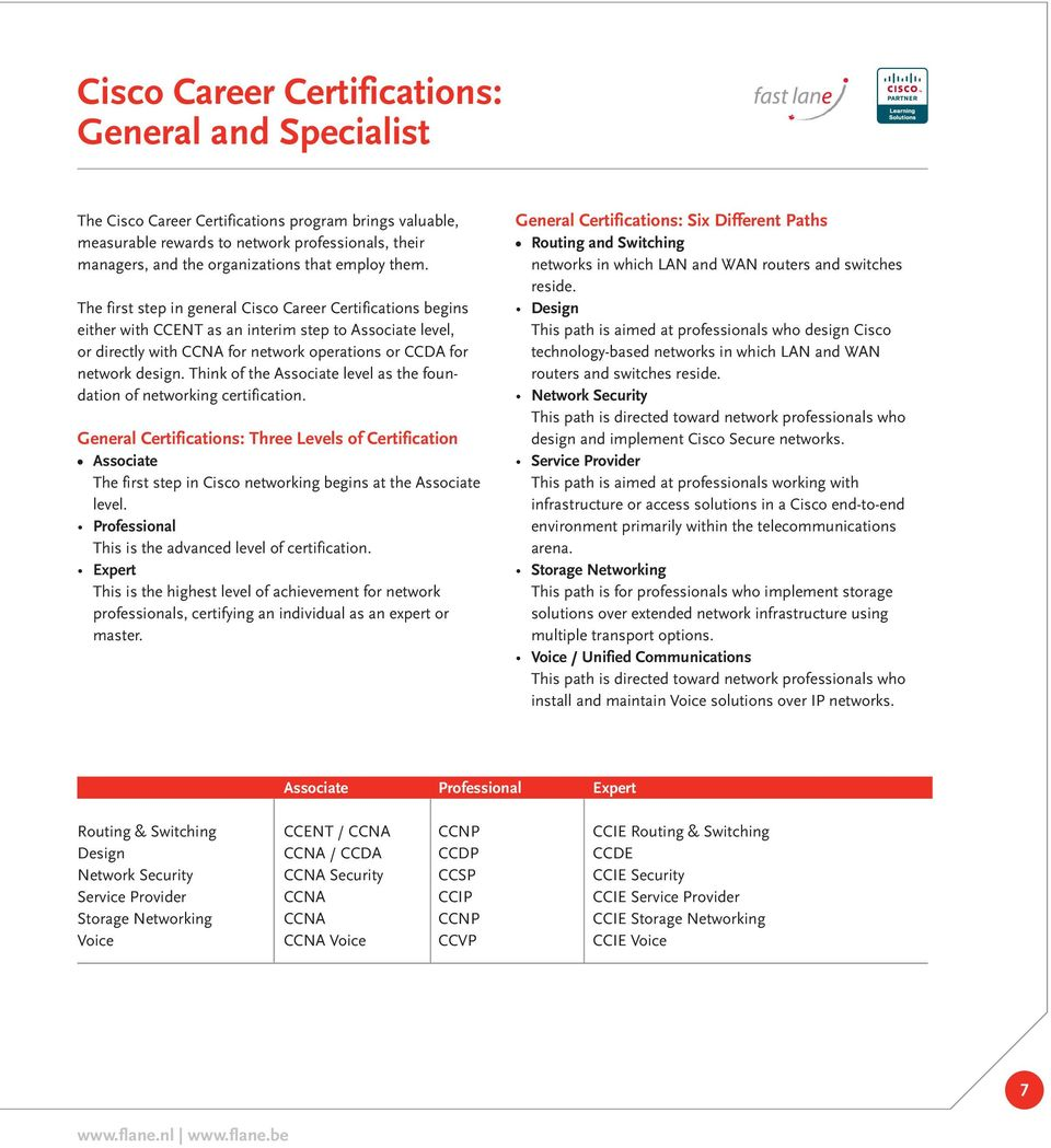 The first step in general Cisco Career Certifications begins either with CCENT as an interim step to Associate level, or directly with CCNA for network operations or CCDA for network design.