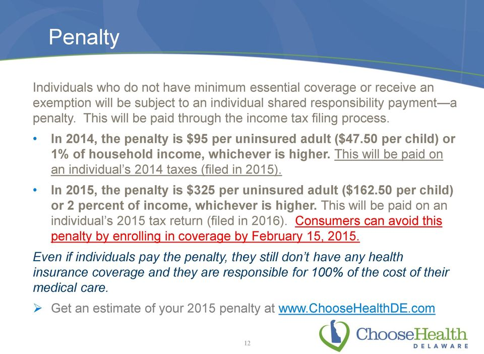 This will be paid on an individual s 2014 taxes (filed in 2015). In 2015, the penalty is $325 per uninsured adult ($162.50 per child) or 2 percent of income, whichever is higher.