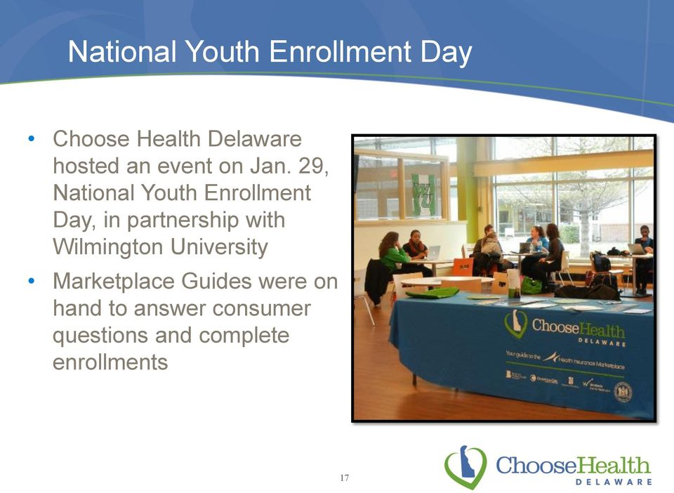 29, National Youth Enrollment Day, in partnership with