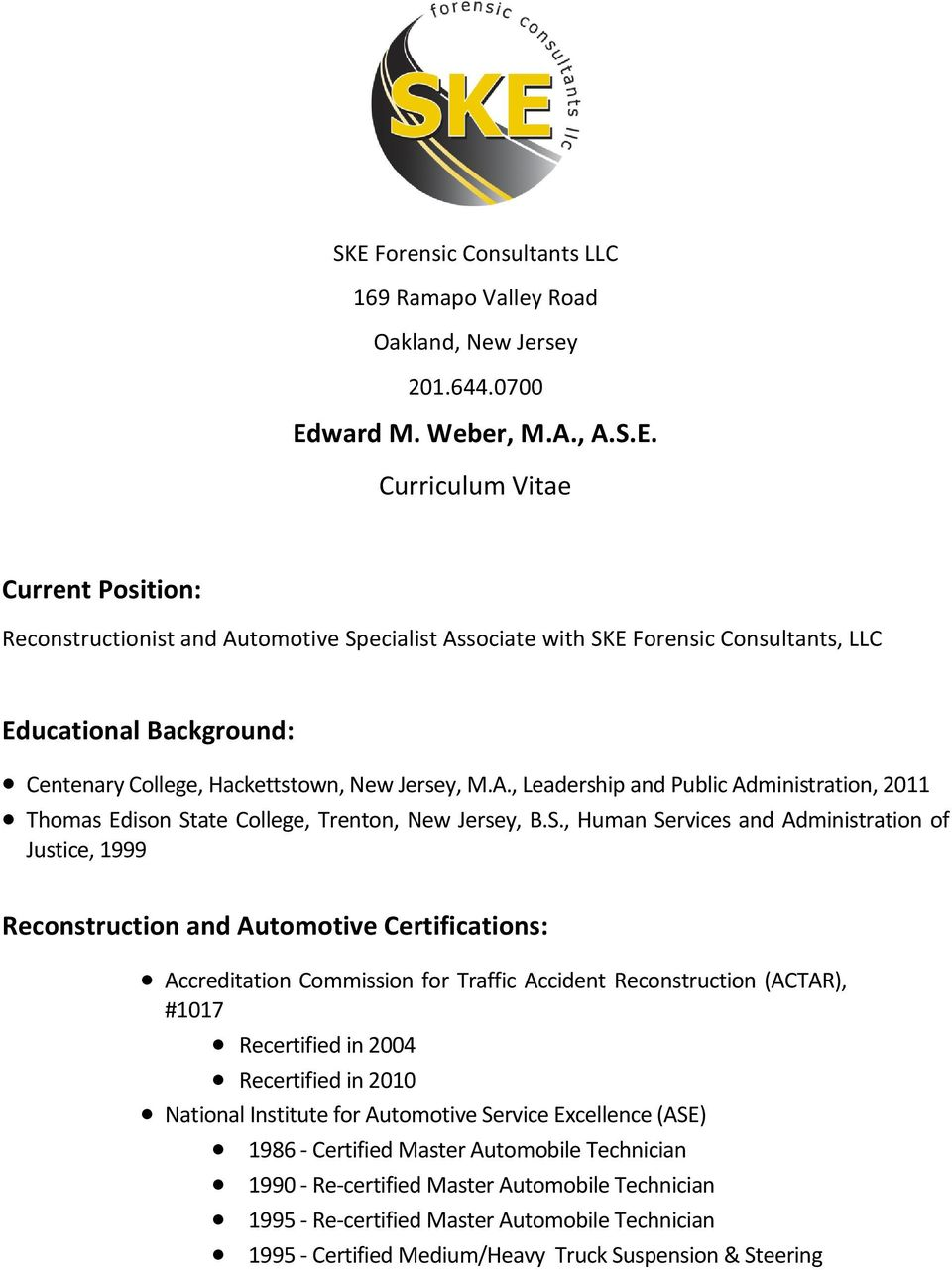 Edward m weber m a a s e curriculum vitae pdf for Motor vehicle inspection edison nj