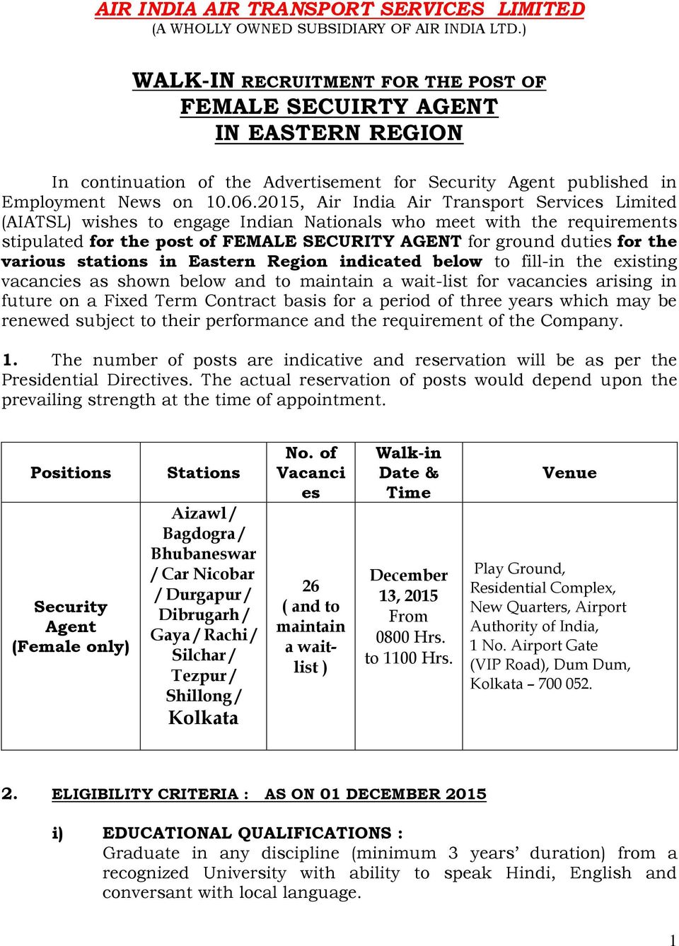 2015, Air India Air Transport Services Limited (AIATSL) wishes to engage Indian Nationals who meet with the requirements stipulated for the post of FEMALE SECURITY AGENT for ground duties for the
