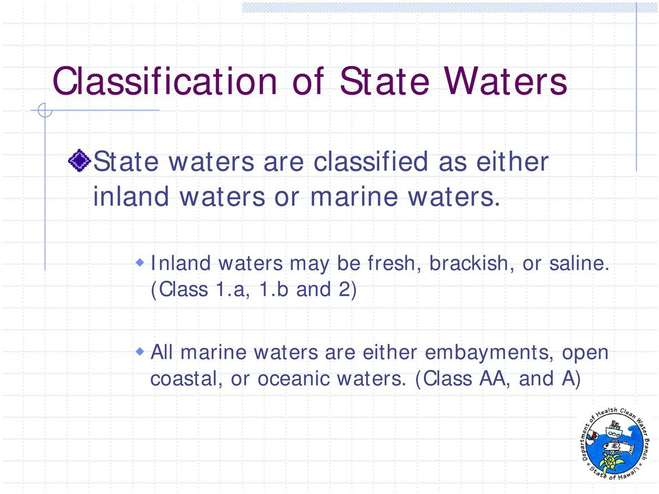 Inland waters may be fresh, brackish, or saline. (Class 1.a, 1.