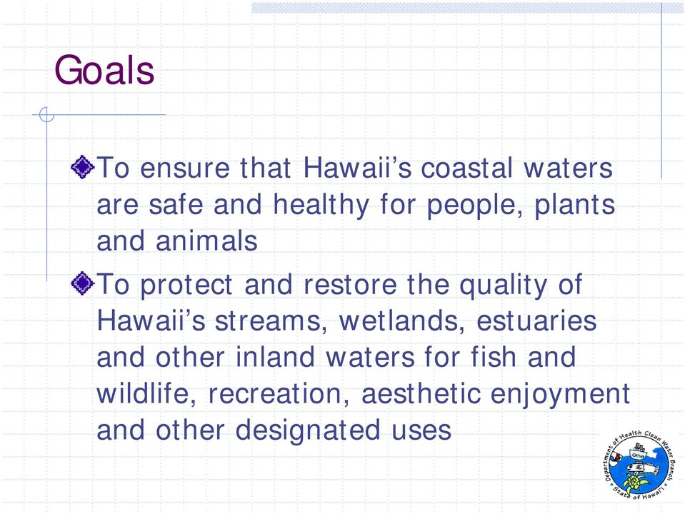 Hawaii s streams, wetlands, estuaries and other inland waters for