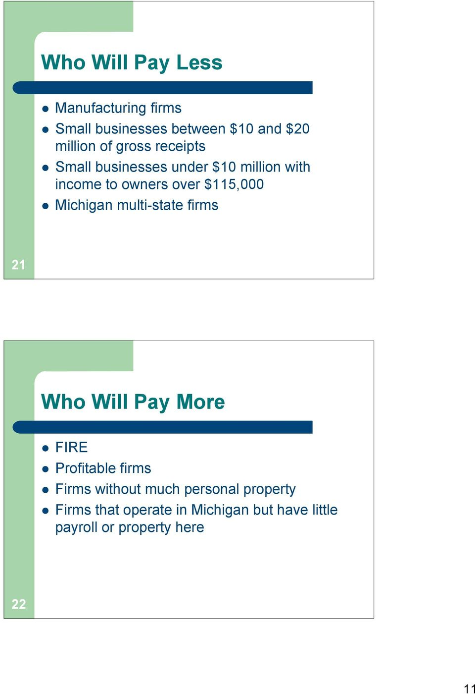 Michigan multi-state firms 21 Who Will Pay More FIRE Profitable firms Firms without much