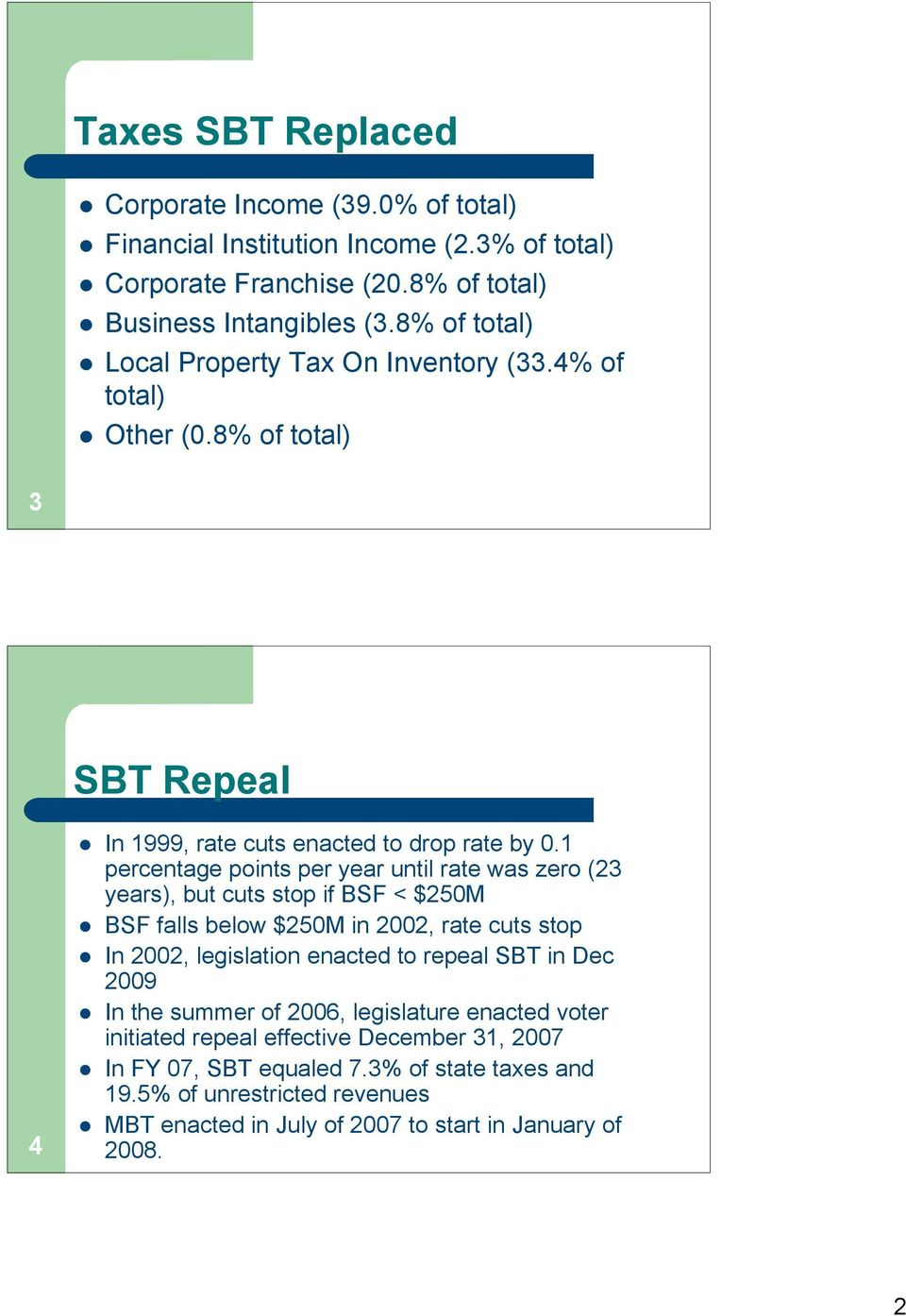 1 percentage points per year until rate was zero (23 years), but cuts stop if BSF < $250M BSF falls below $250M in 2002, rate cuts stop In 2002, legislation enacted to repeal SBT