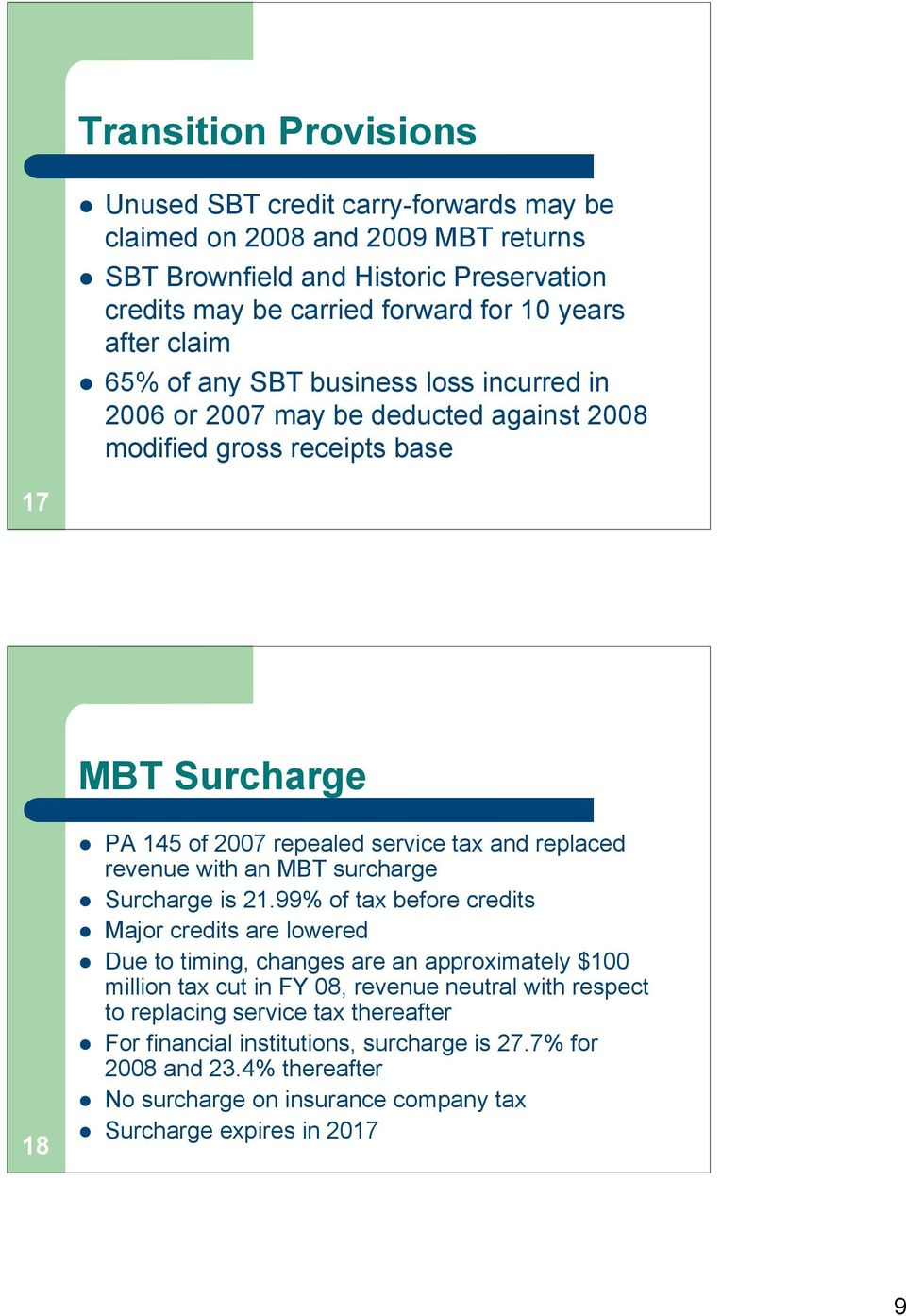 revenue with an MBT surcharge Surcharge is 21.