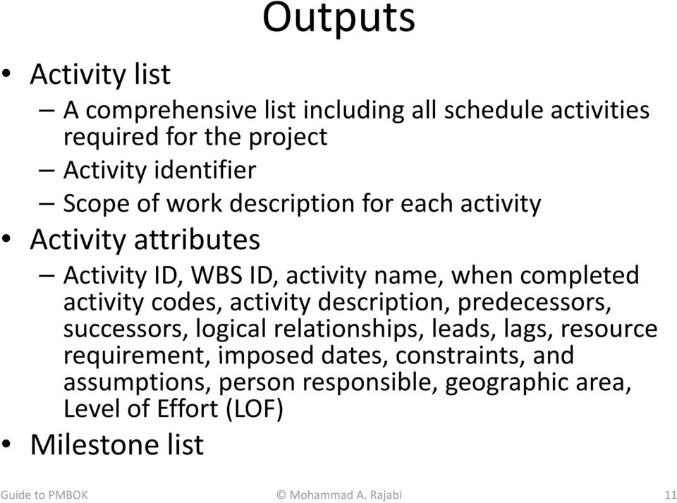 activity description, predecessors, successors, logical relationships, leads, lags, resource requirement, imposed dates,
