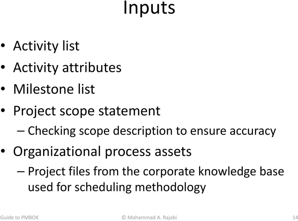 Organizational process assets Project files from the corporate