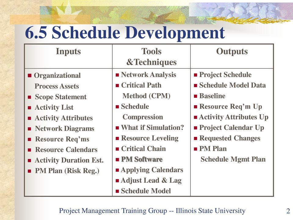 Resource Leveling Critical Chain PM Software Applying Calendars Adjust Lead & Lag Schedule Model Outputs Project Schedule Schedule Model Data Baseline