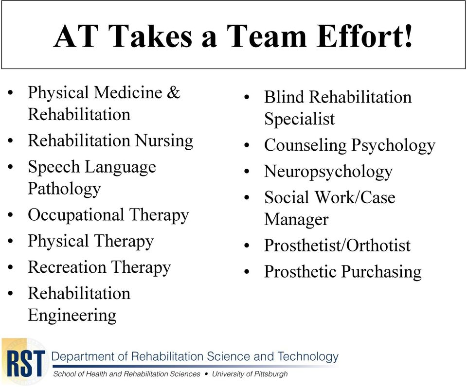 Pathology Occupational Therapy Physical Therapy Recreation Therapy Rehabilitation
