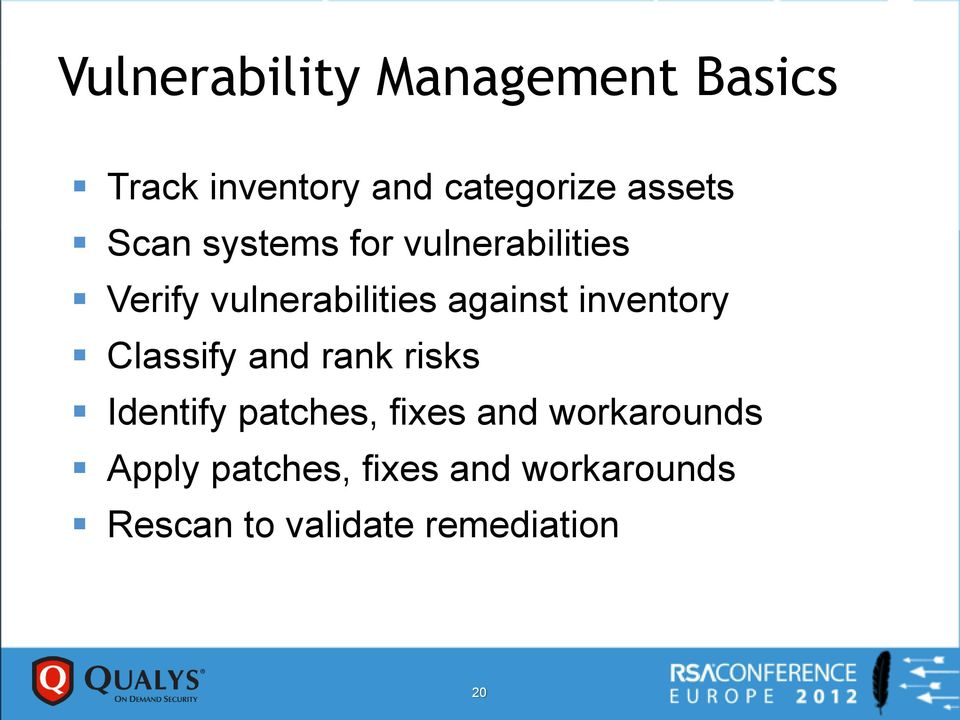 inventory Classify and rank risks Identify patches, fixes and