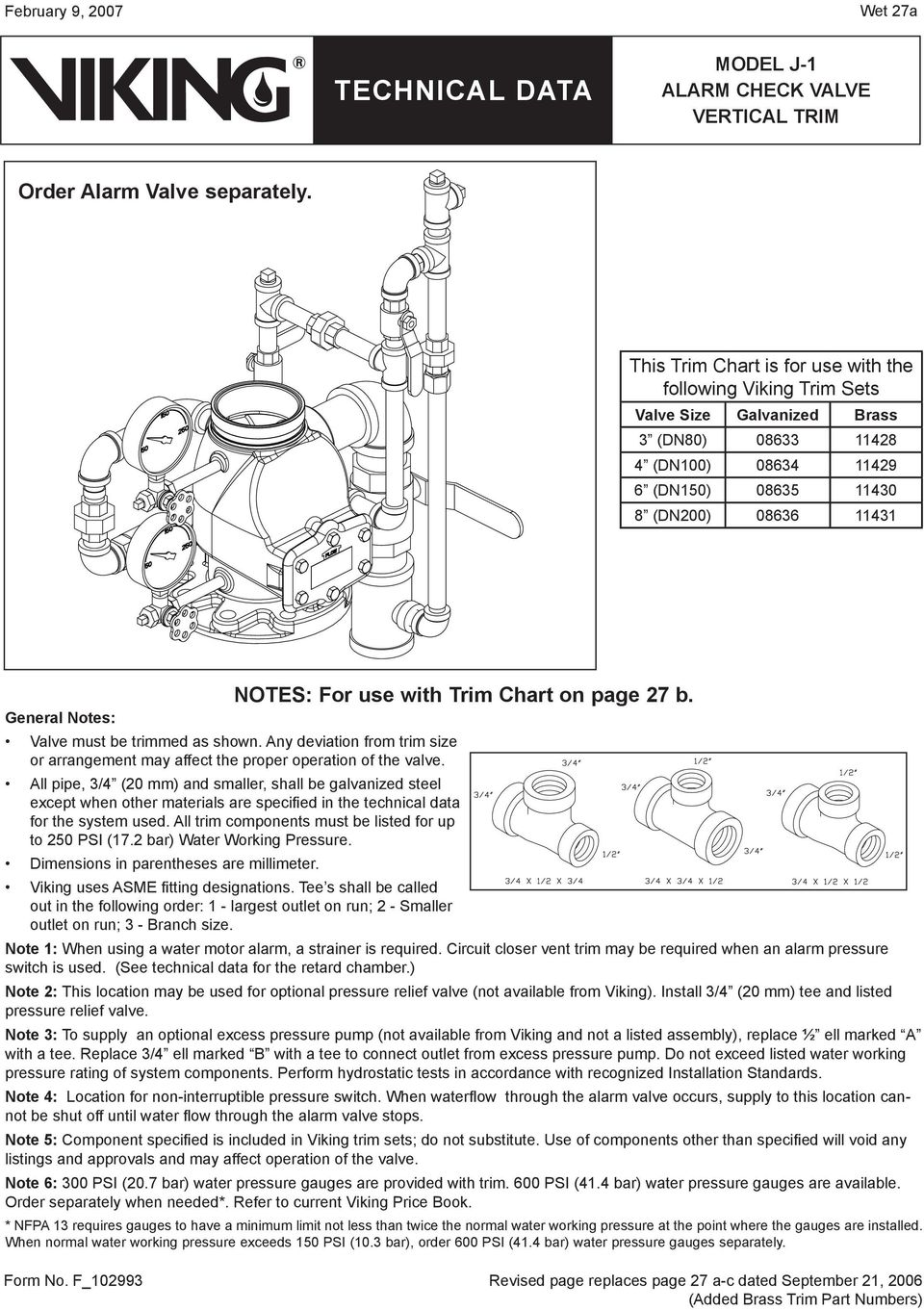 must be trimmed as shown. Any deviation from trim size or arrangement may affect the proper operation of the valve. NOTES: For use with Trim Chart on page 27 b.