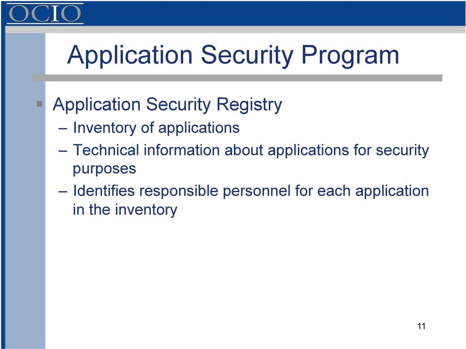 information about applications for security purposes