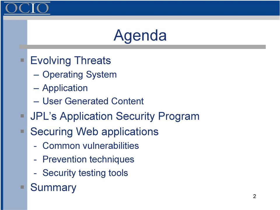 Program Securing Web applications - Common