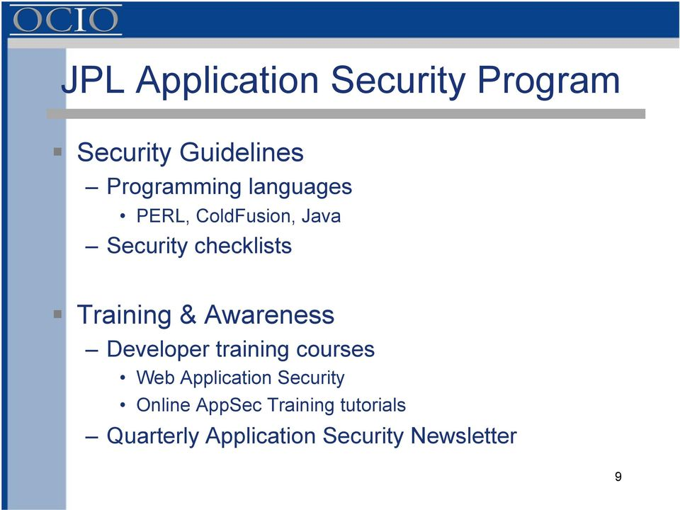 Awareness Developer training courses Web Application Security