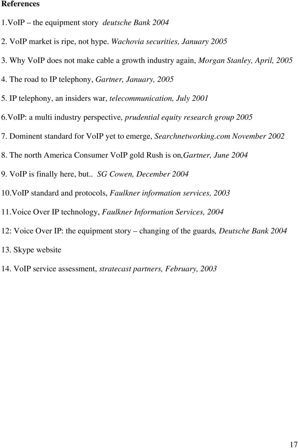 VoIP: a multi industry perspective, prudential equity research group 2005 7. Dominent standard for VoIP yet to emerge, Searchnetworking.com November 2002 8.