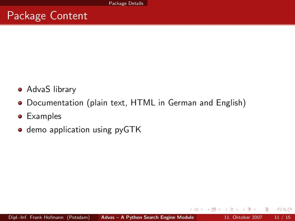 Examples demo application using pygtk Dipl.-Inf.