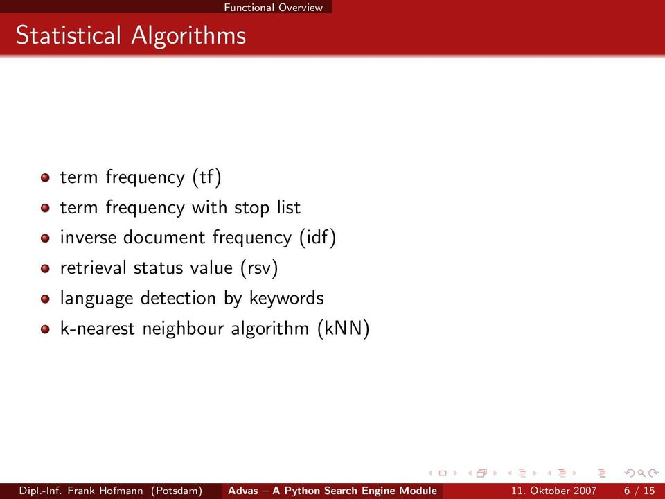 language detection by keywords k-nearest neighbour algorithm (knn) Dipl.-Inf.