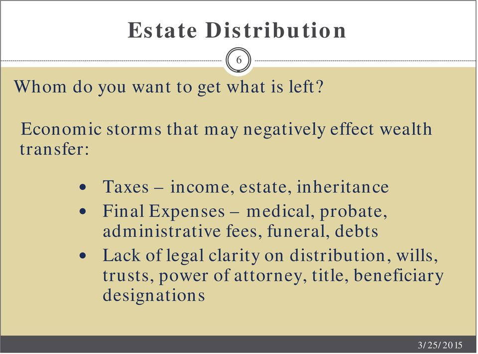 estate, inheritance Final Expenses medical, probate, administrative fees,