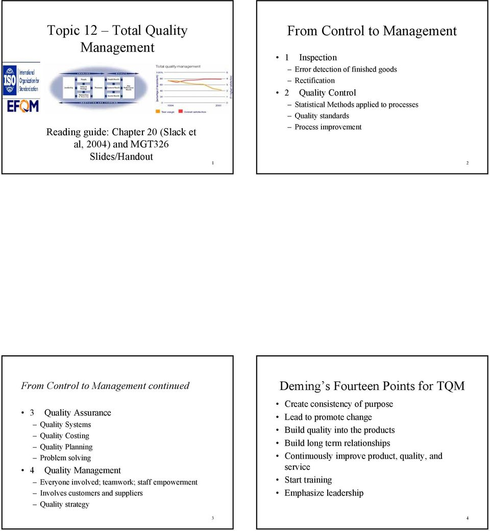 Quality Systems Quality Costing Quality Planning Problem solving 4 Quality Management Everyone involved; teamwork; staff empowerment Involves customers and suppliers Quality strategy Create